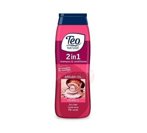 Teo Șampon și Balsam cu ulei de Argan efect de Perla 400 ML (compresor)