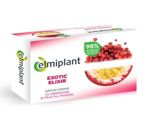 Săpun cremă cu Merișoare și Fructul Pasiunii Exotic Elixir, 100 g, Elmiplant comprimat